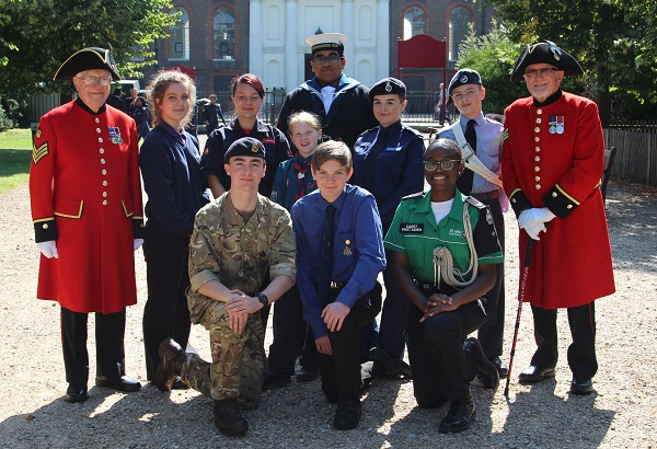 Chelsea Pensioners with cadets at community event