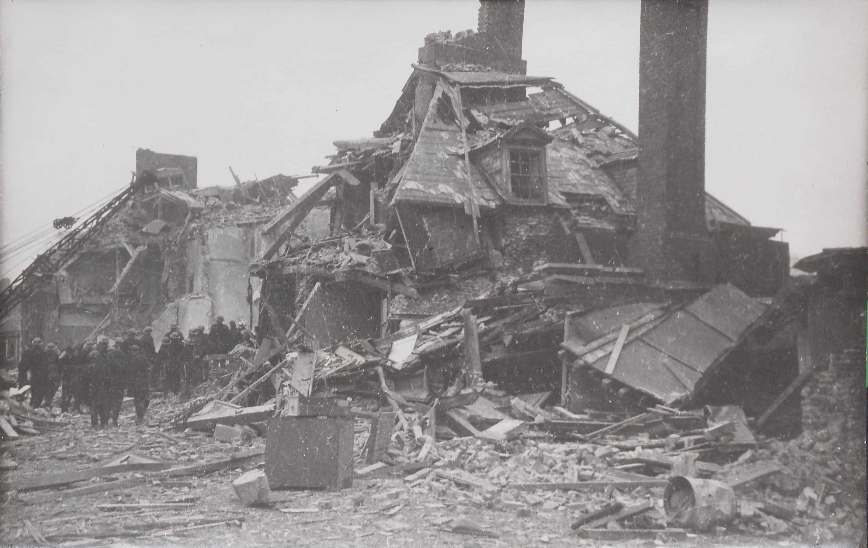 A destroyed building at the Royal Hospital