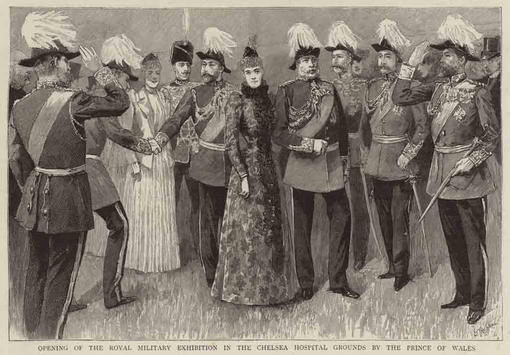 An engraving of the opening of the Royal Military Exhibition in the Chelsea Hospital Grounds by the Prince of Wales