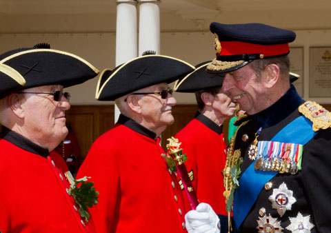The Duke of Kent meets Chelsea Pensioners on Parade
