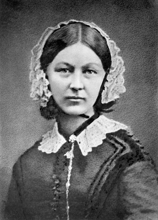 Black and white portrait of Florence Nightingale circa 1860