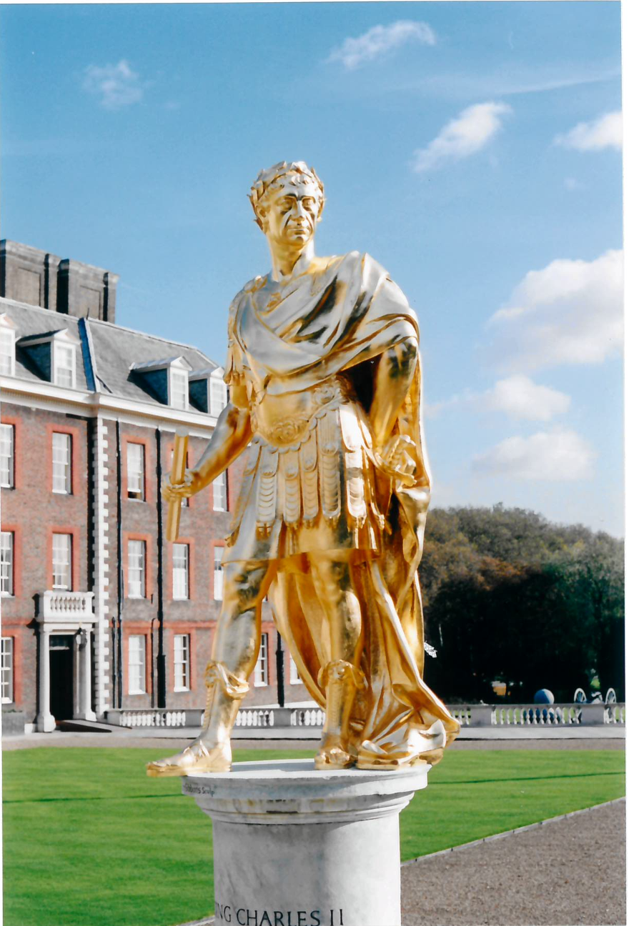 The statue of Charles II in figure court was gilded in 2002