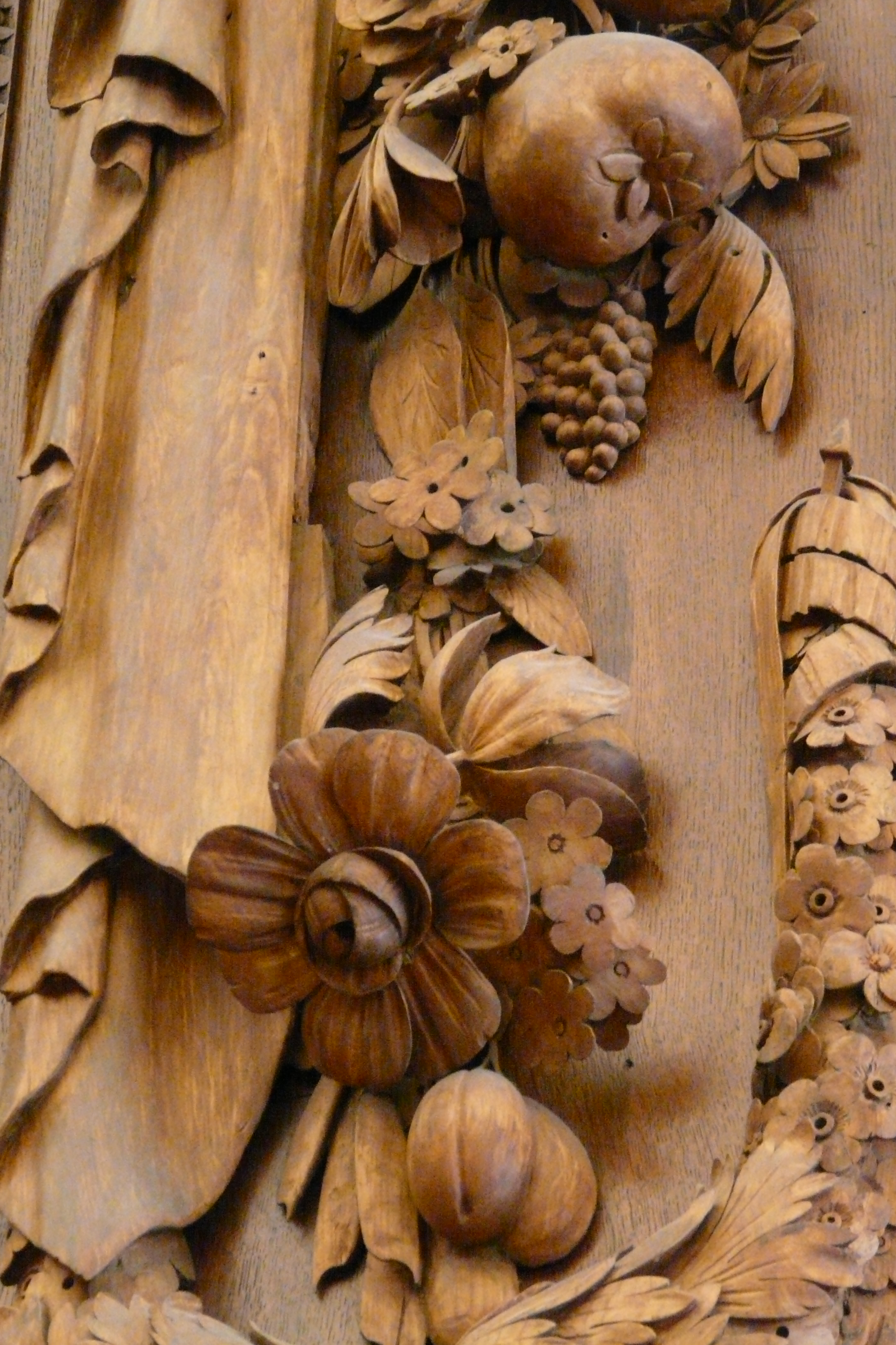 Ornate wood carvings at Hampton Court Palace by Gibbons
