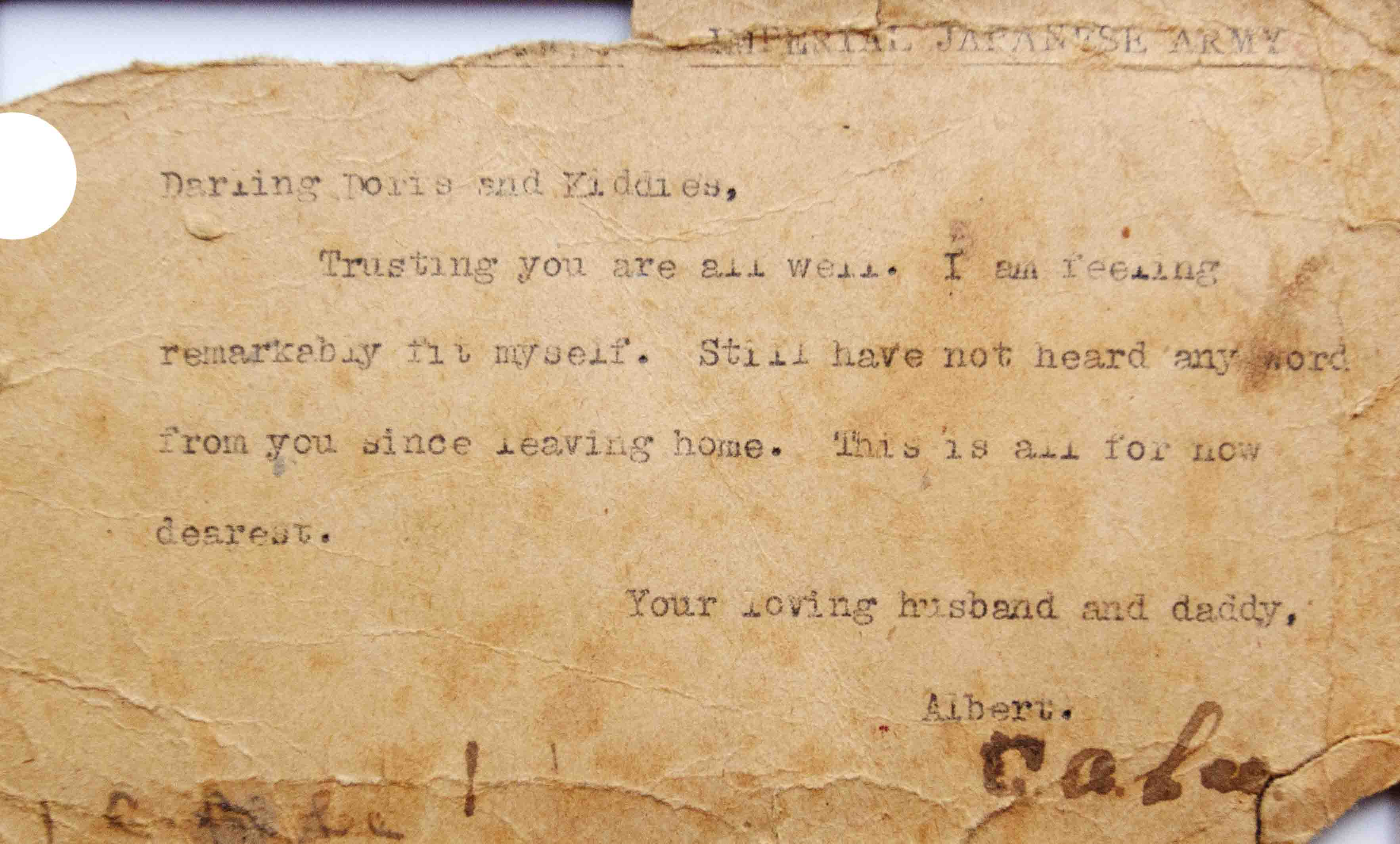 Letter from POW Chelsea Pensioner home