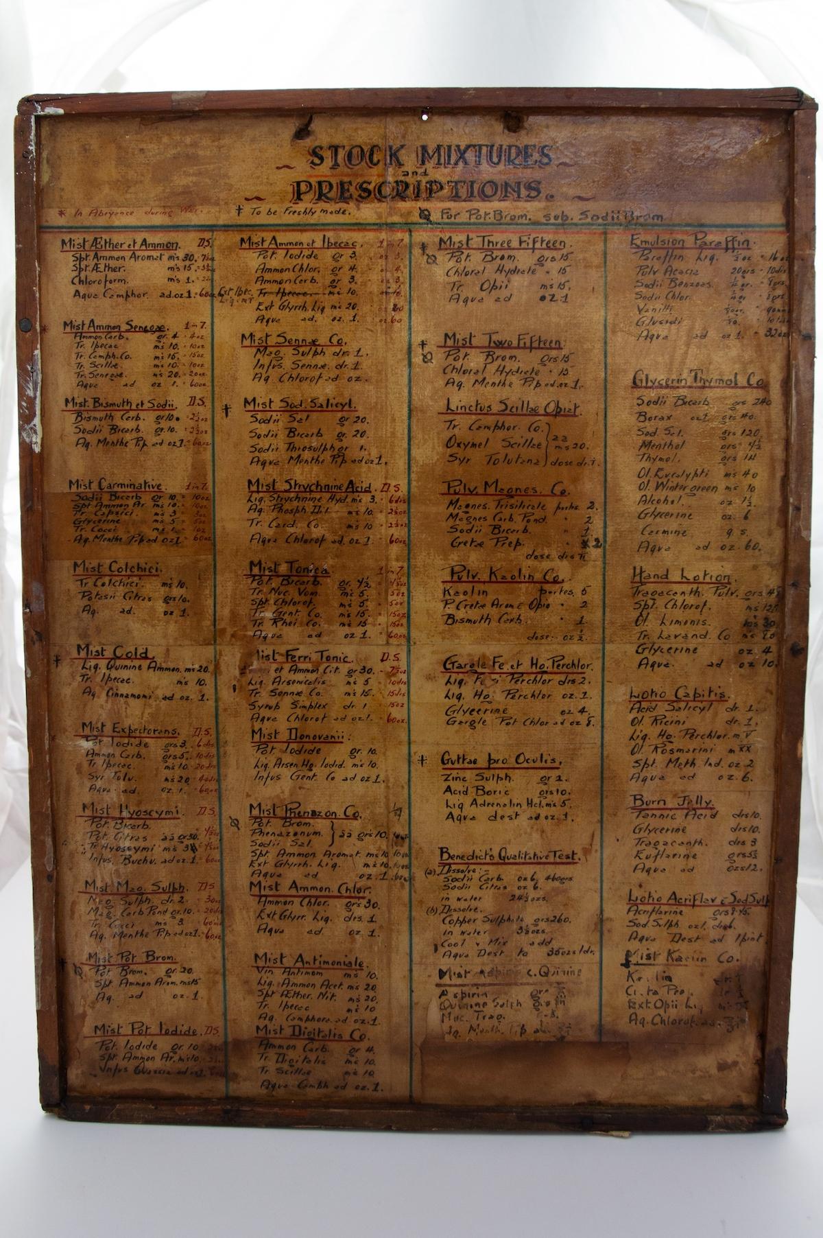 Prescription board, Royal Hospital Chelsea.