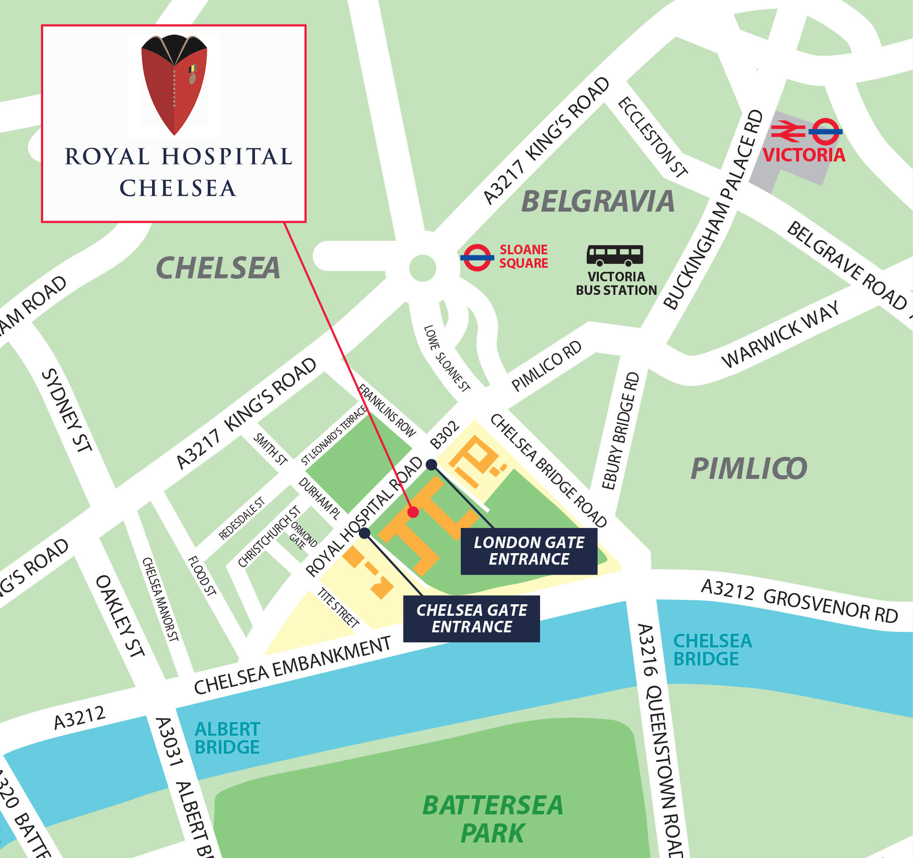 Royal Hospital Chelsea - Location Map