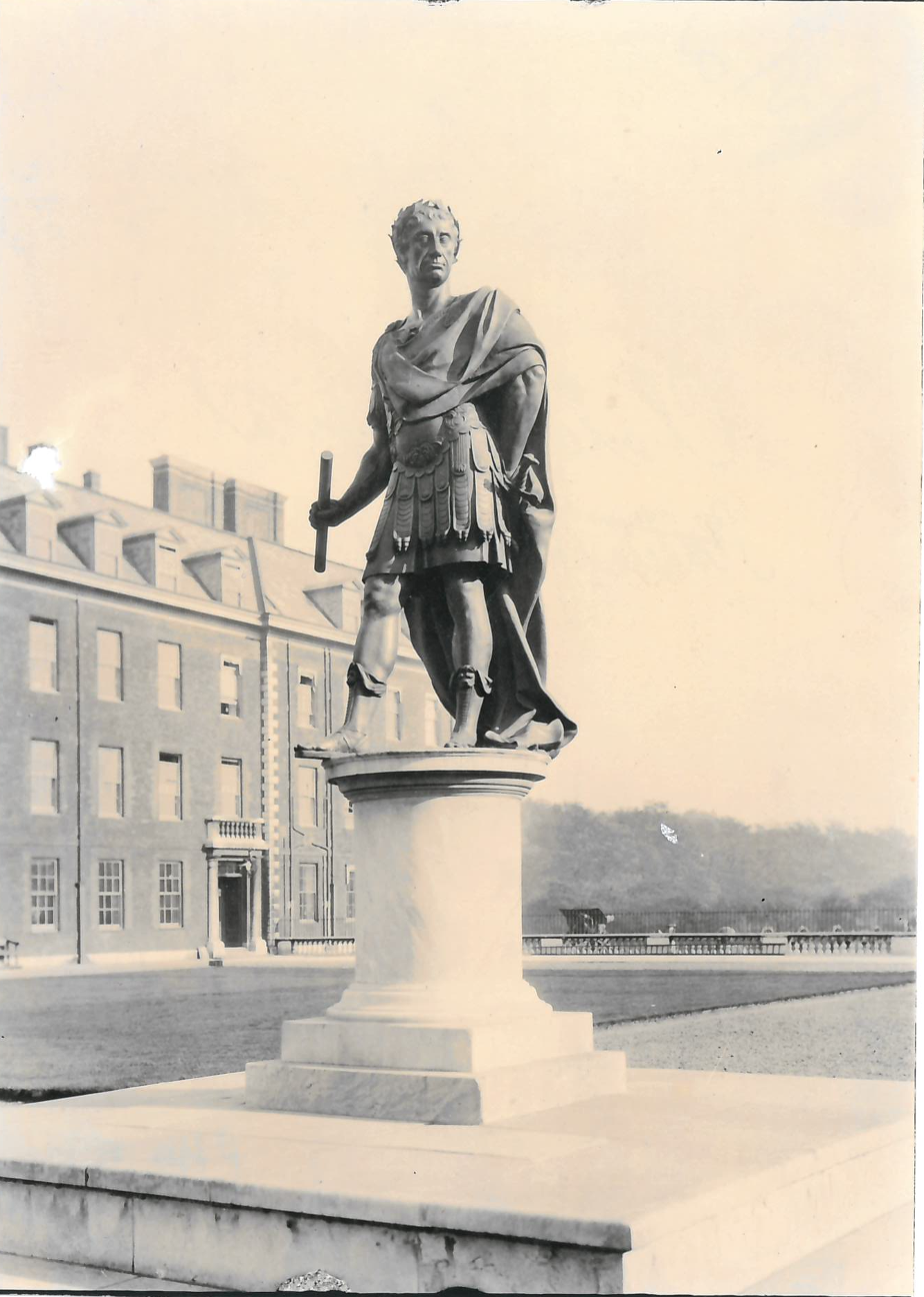 Statue of Charles II in Figure Court, Royal Hospital Chelsea by Grinling Gibbon in Oct 1922