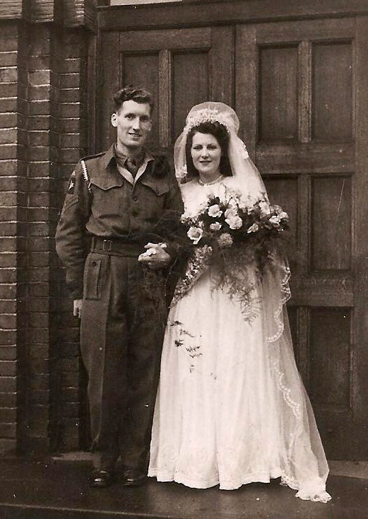 Bob and his first wife Norah at their marriage in 1945. Bob had recently been released from hospital where he was treated for a mortar wound to his knee.