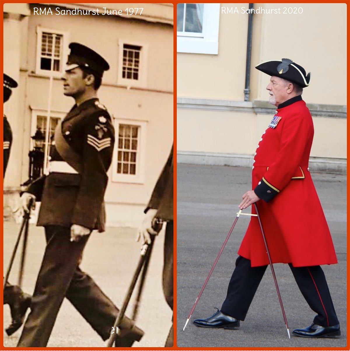 Now and then – Pensioner Dave Coote and his pace stick