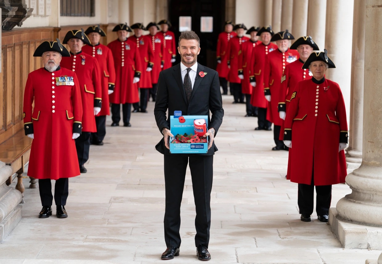 David Beckham launches the Poppy Appeal at the Royal Hospital Chelsea