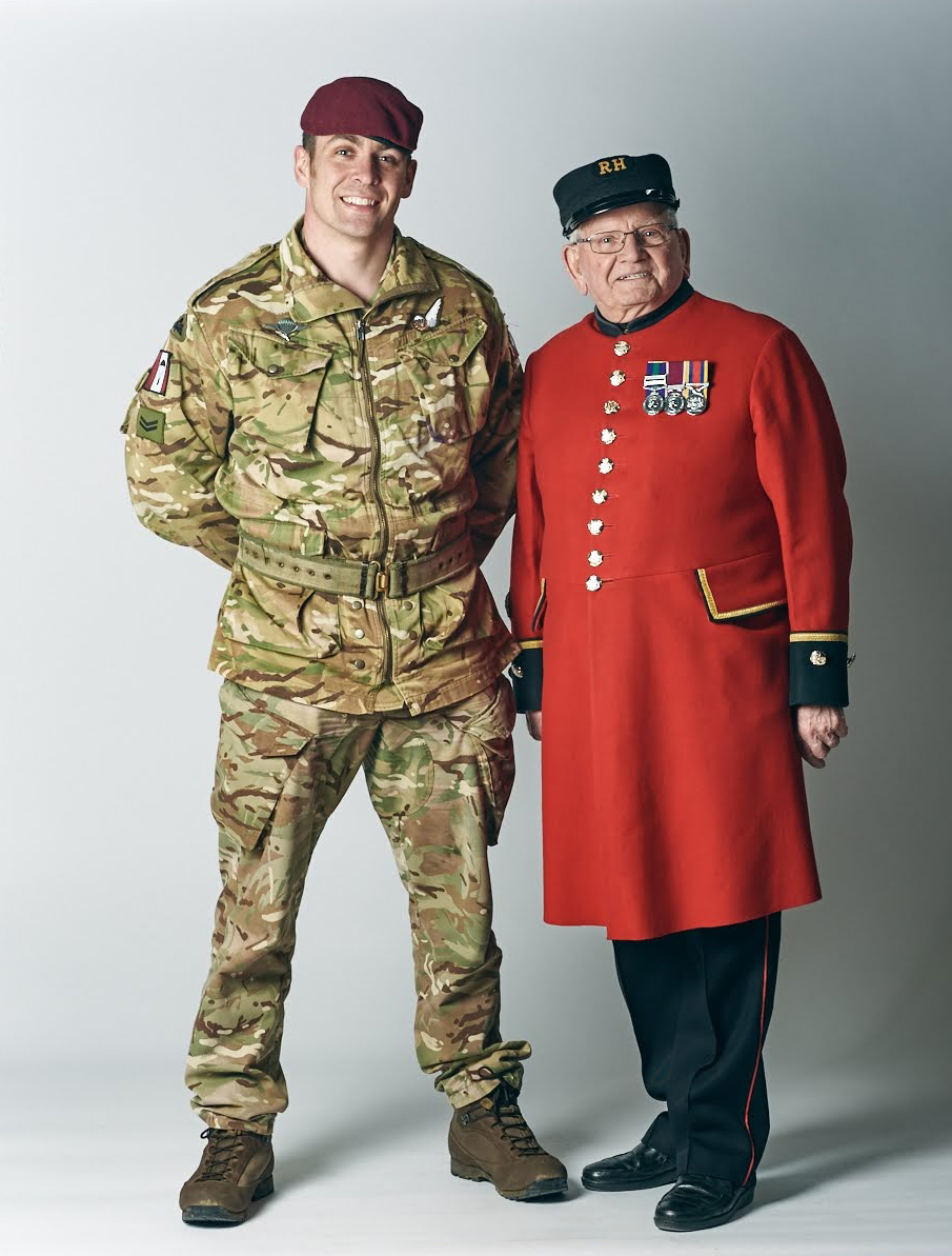 Dewi Treharne with serving soldier