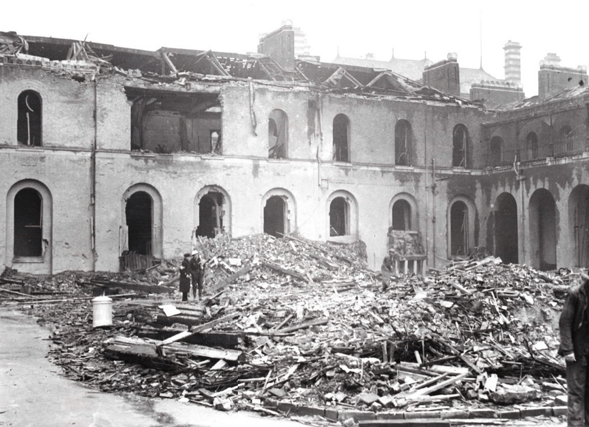 The site of the Infirmary's east wing after the bombing