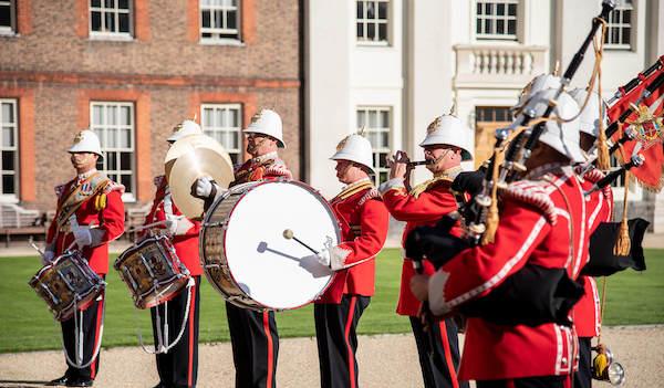 The Gibraltar Regiment Band & Drums perform