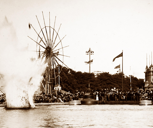 Torpedo explosion display on the water at the Royal Military and Naval Exhibition