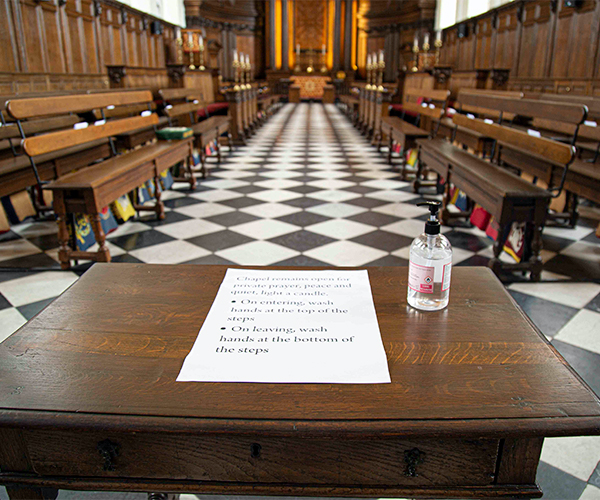 Wren Chapel at the Royal Hospital with table at entrance with hand sanitizer