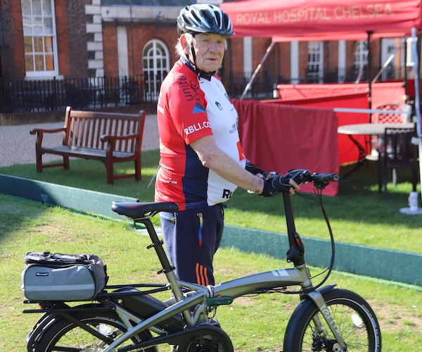 Mike Atkinson prepares for a charity bike ride in July.