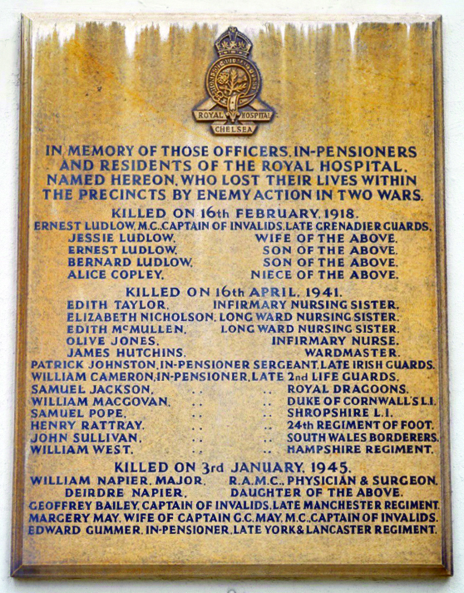 This board displayed on the Colonnade lists those who died on 16 April 1941.