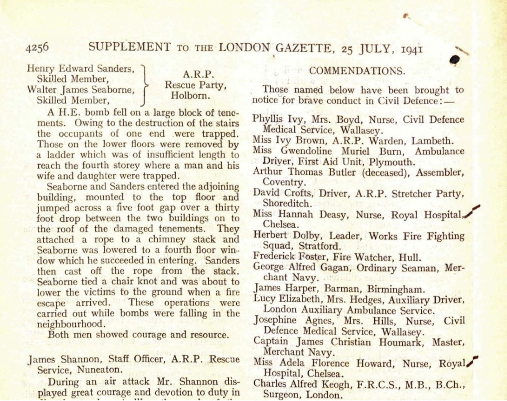 Commendations for Gallantry in The London Gazette, 25 July 1941