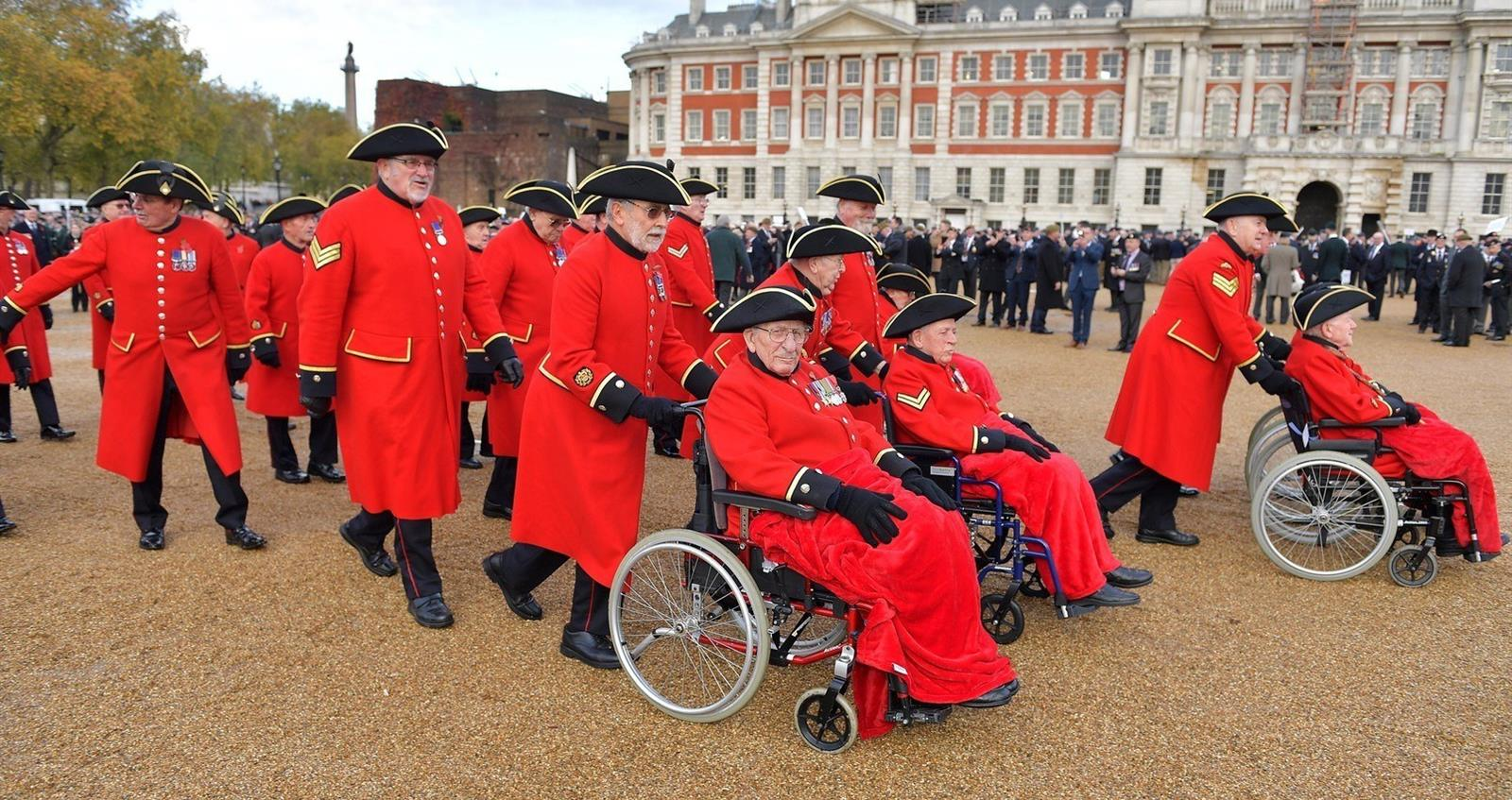 Chelsea Pensioners on Horseguards Parade during Remembrance 2019