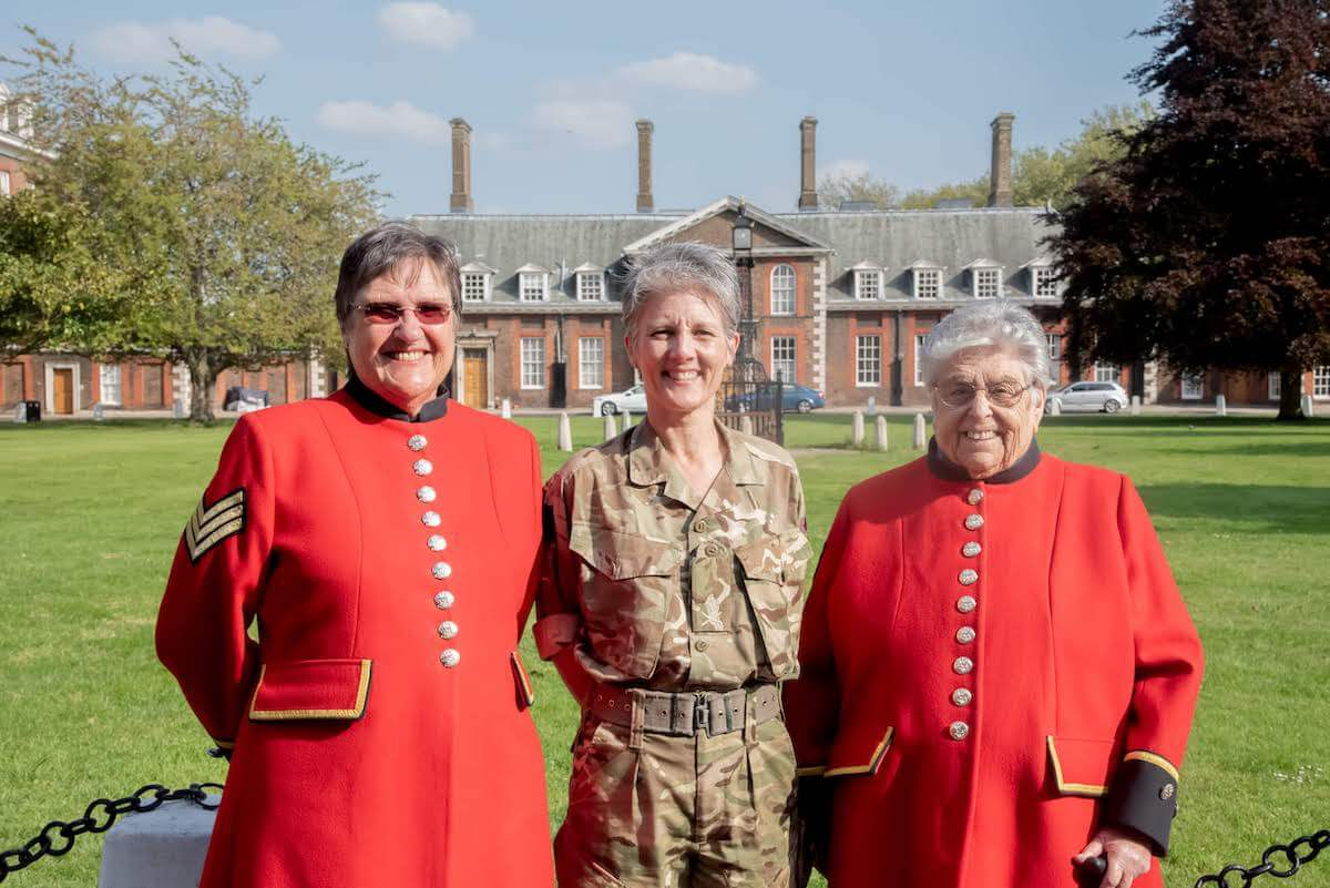 General Nesmith with Chelsea Pensioners Monica & Pam