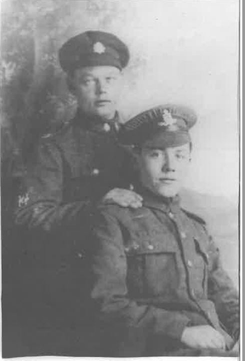 Don's father standing beside his brother Albert, who died of wounds on 4th October 1918 in Ypres, Belgium