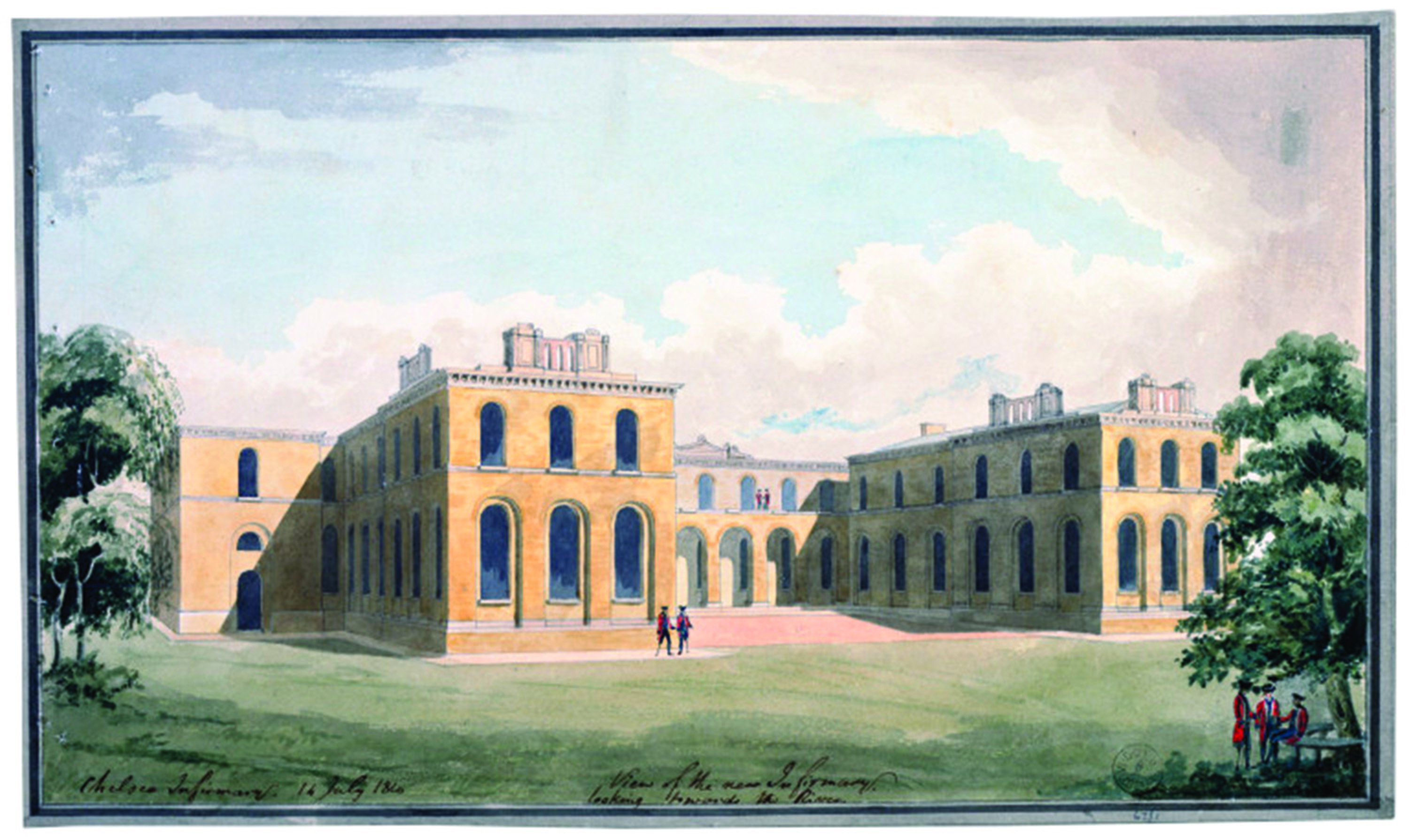 The Infirmary seen looking North from where the car park is today.